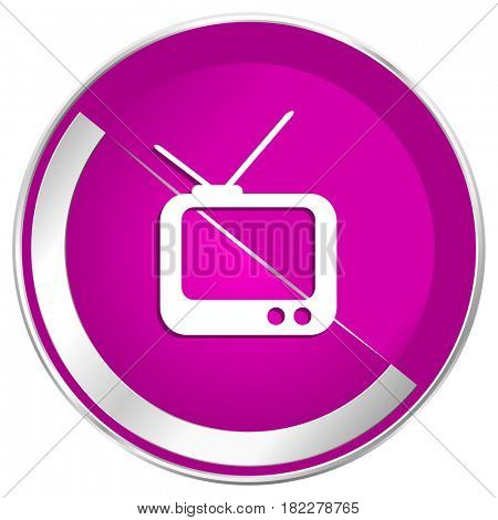 Tv web design violet silver metallic border internet icon.
