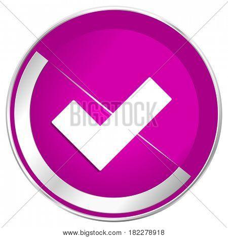 Accept web design violet silver metallic border internet icon.