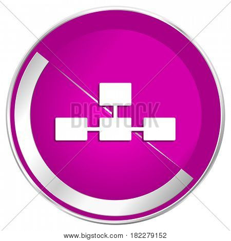 Database web design violet silver metallic border internet icon.