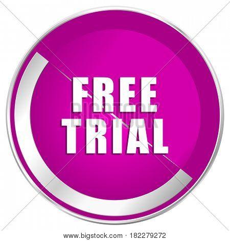 Free trial web design violet silver metallic border internet icon.