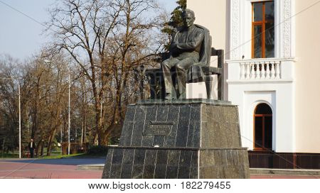 The monument to Kabardian writer Ali Shogentsukov. Shogentsukov is one of the recognized classics of Circassian literature. He made an invaluable contribution to the development of Circassian drama in the 20's and 30's of the 20th century.