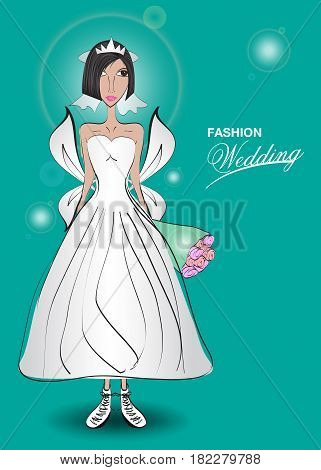 Young woman in a wedding dress. fashion design Just married Vector illustration beauty spa cosmetic flower lover wedding invitation card Angels wing