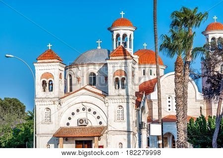 Panagia Faneromeni Church. Devoted to the Virgin Mary and replaces a Medieval church on the same spot. Larnaca Cyprus.