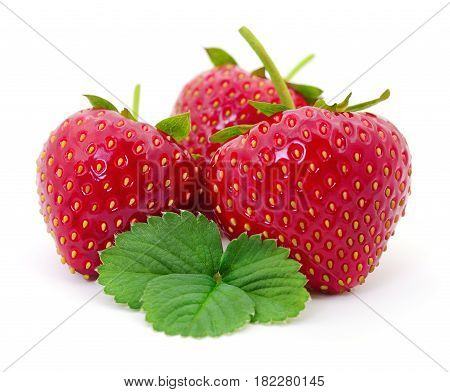 Strawberry with leaves isolated on white background