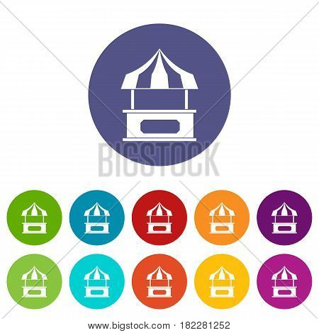 Store kiosk with striped awning icons set in circle isolated flat vector illustration