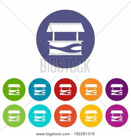 Market stall with awning icons set in circle isolated flat vector illustration