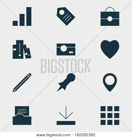 Vector Illustration Of 12 Online Icons. Editable Pack Of Increase Chart, Portfolio, Capture And Other Elements.