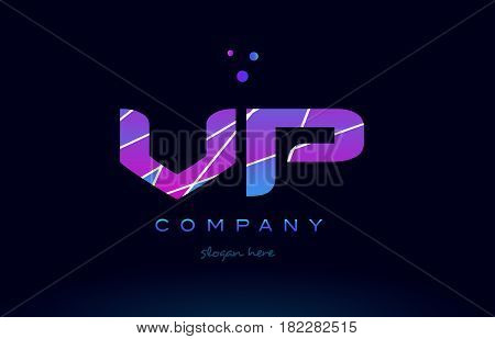 Vp V P  Colored Blue Pink Purple Alphabet Letter Logo Icon Vector