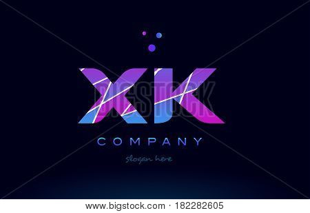 Xk X K  Colored Blue Pink Purple Alphabet Letter Logo Icon Vector