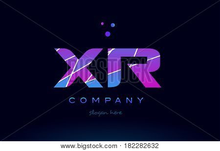 Xr X R  Colored Blue Pink Purple Alphabet Letter Logo Icon Vector