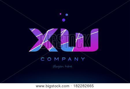 Xw X W  Colored Blue Pink Purple Alphabet Letter Logo Icon Vector