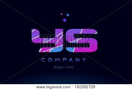 Yk Y K  Colored Blue Pink Purple Alphabet Letter Logo Icon Vector