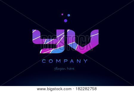 Yv Y V  Colored Blue Pink Purple Alphabet Letter Logo Icon Vector