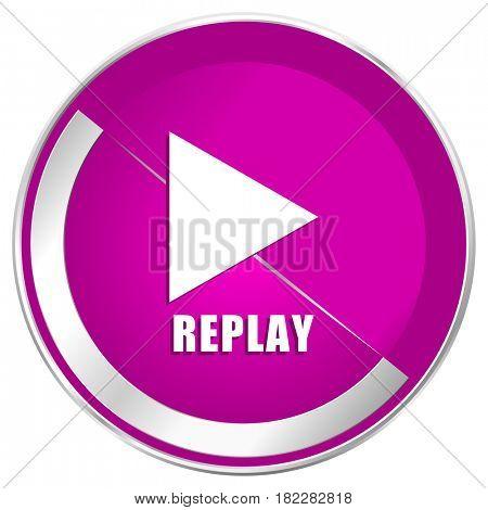 Replay web design violet silver metallic border internet icon.
