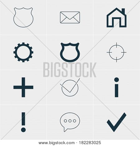 Vector Illustration Of 12 Interface Icons. Editable Pack Of Message, Info, Screen Capture And Other Elements.