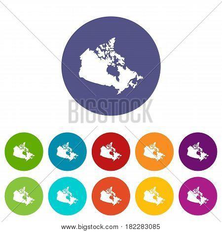 Canada map icons set in circle isolated flat vector illustration
