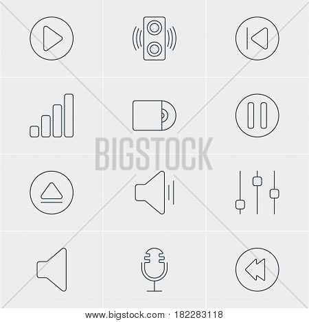 Vector Illustration Of 12 Music Icons. Editable Pack Of Compact Disk, Start, Mike And Other Elements.
