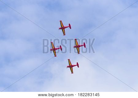LEEUWARDEN NETHERLANDS - JUNE 10 2016: Belgian Red Devils stunt team in action at the Dutch Air Force open days in the netherlands