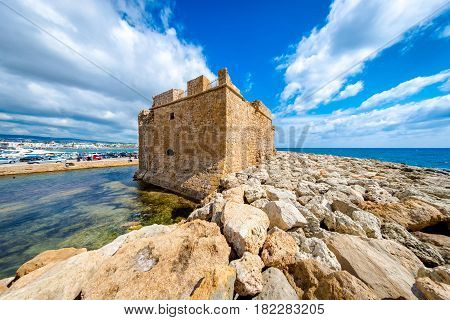 Picturesque Medieval Fort at Paphos harbour. Cyprus.