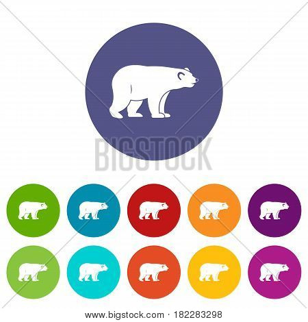 Maple syrup in glass bottle icons set in circle isolated flat vector illustration
