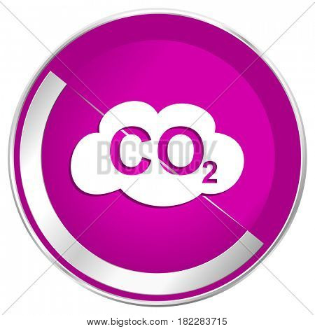 Carbon dioxide web design violet silver metallic border internet icon.