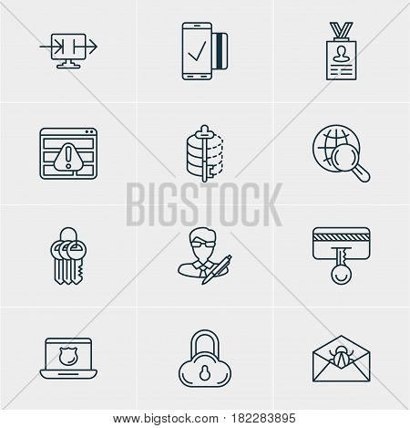 Vector Illustration Of 12 Privacy Icons. Editable Pack Of Corrupted Mail, Internet Surfing, Key Collection And Other Elements.