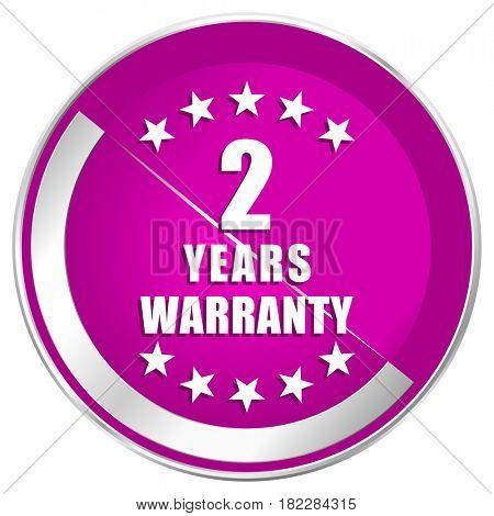 Warranty guarantee 2 year web design violet silver metallic border internet icon.