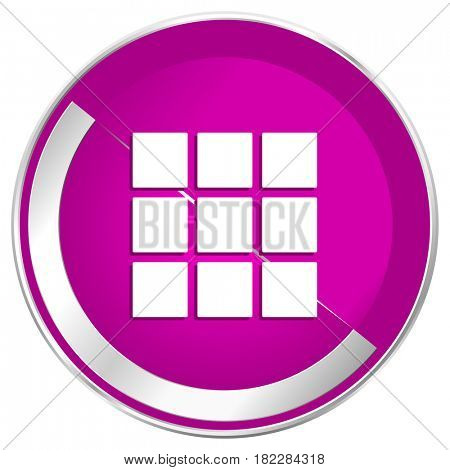 Thumbnails grid web design violet silver metallic border internet icon.