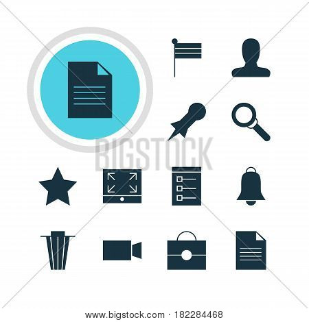 Vector Illustration Of 12 Online Icons. Editable Pack Of Portfolio, Thumbtack, Account And Other Elements.