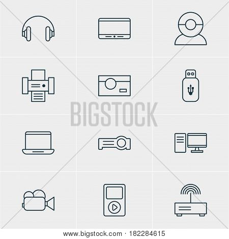 Vector Illustration Of 12 Technology Icons. Editable Pack Of Photography, PC, Headset And Other Elements.