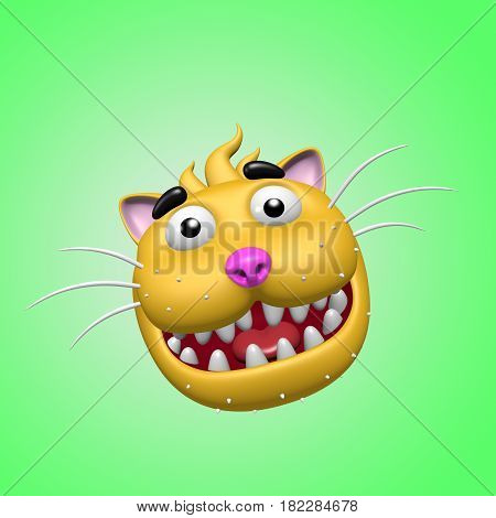 Cartoon smiling cat head. 3D illustration. Funny cool emoticon character. Cheerful pet for web icons and t-shirt. Green background.