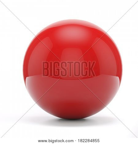 3d red sphere on white background