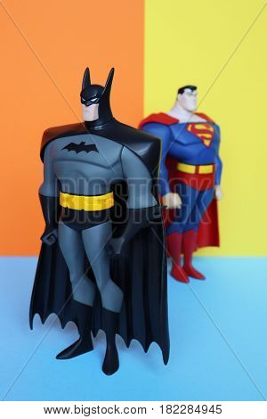 TOULOUSE, FRANCE - April 18, 2017: Vintage 2003 BATMAN and SUPERMAN 10