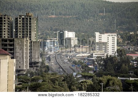 highway and new construction in Addis Ababa, Ethiopia