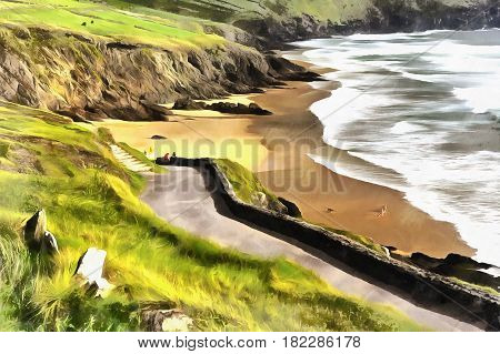 Colorful painting of Slea Head landscape, Dingle peninsula, Ireland