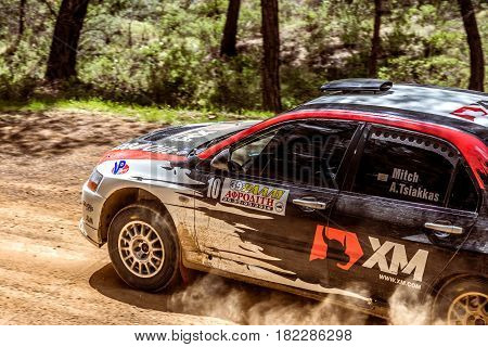 PAPHOS CYPRUS - March 27 2016: 39th Venus Rally in Panagia Forest.
