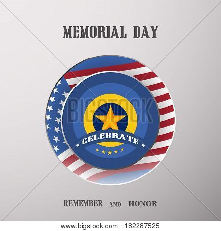 Memorial Day vector poster with medal cut from paper usa flag shadow and text on the gradient gray background.