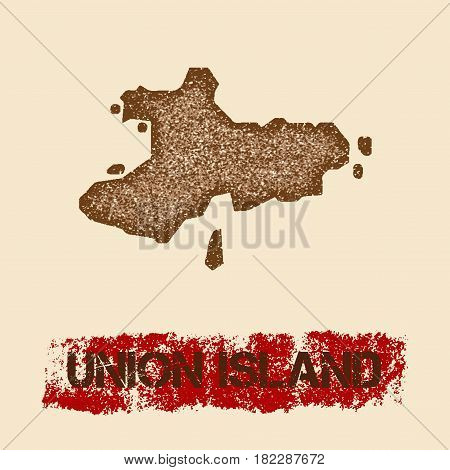 Union Island Distressed Map. Grunge Patriotic Poster With Textured Island Ink Stamp And Roller Paint