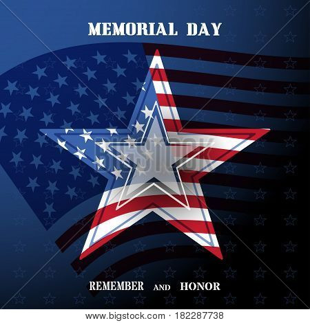 Vector poster of Memorial Day with transparency star shadow usa flag and text on the dark blue gradient background.