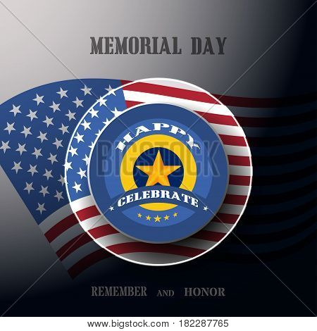 Vector poster of Memorial Day with label cut from material shadow usa flag and text on the dark gray background.