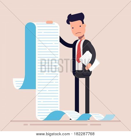 Businessman or manager, hold a long list or scroll of tasks. or questionnaire. Man in a business suit. Flat character. Vector illustration.