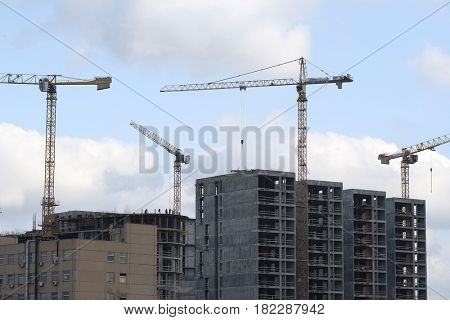 Tower cranes on a construction