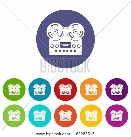 Retro tape recorder icons set in circle isolated flat vector illustration