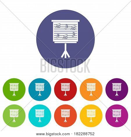 Whiteboard with music notes icons set in circle isolated flat vector illustration