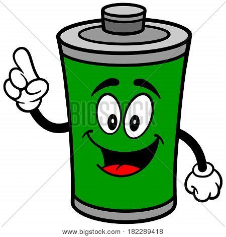 A vector illustration of a cartoon Battery mascot.