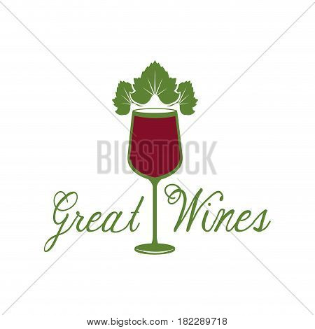 great wines glassware leaves image poster vector illustration eps 10