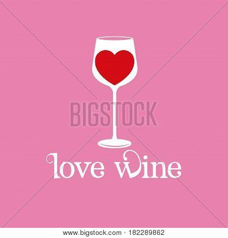 love wine glassware heart wine image vector illustration eps 10
