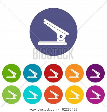 Office paper hole puncher icons set in circle isolated flat vector illustration