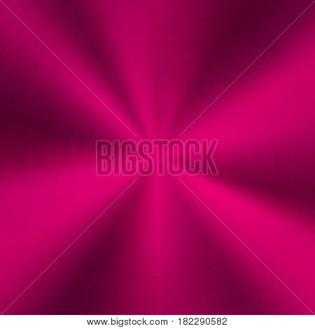 Magenta metal abstract technology background with polished, brushed circular concentric texture, chrome, silver, steel, for design concepts, web, posters, wallpapers and prints. Vector illustration.