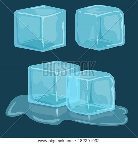 Ice cubes vector set, Cold transparent frozen block